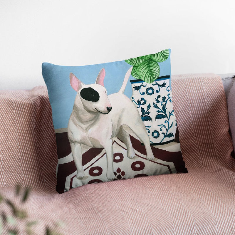 English Bull Terrrier With Plant Throw Pillow By Sally B