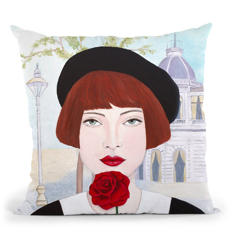 French Woman And Rose Throw Pillow By Sally B