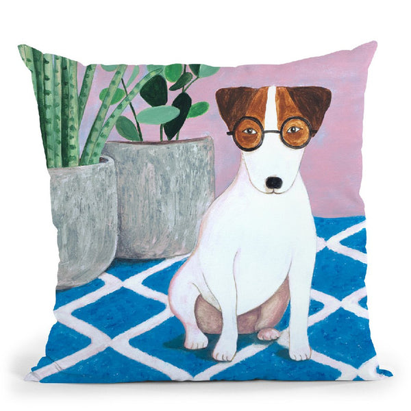 Jack Russell And Plant Throw Pillow By Sally B
