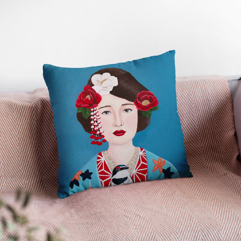 Japanese Woman And Bird Throw Pillow By Sally B