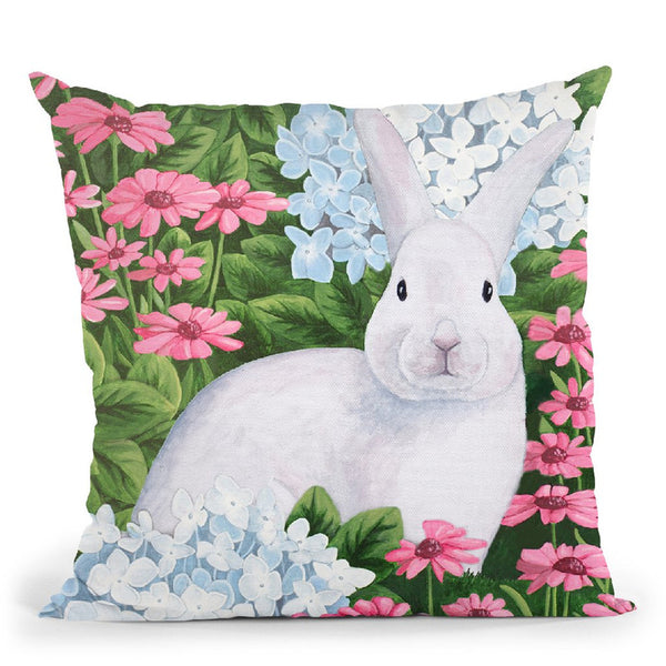Rabbit In Garden Throw Pillow By Sally B