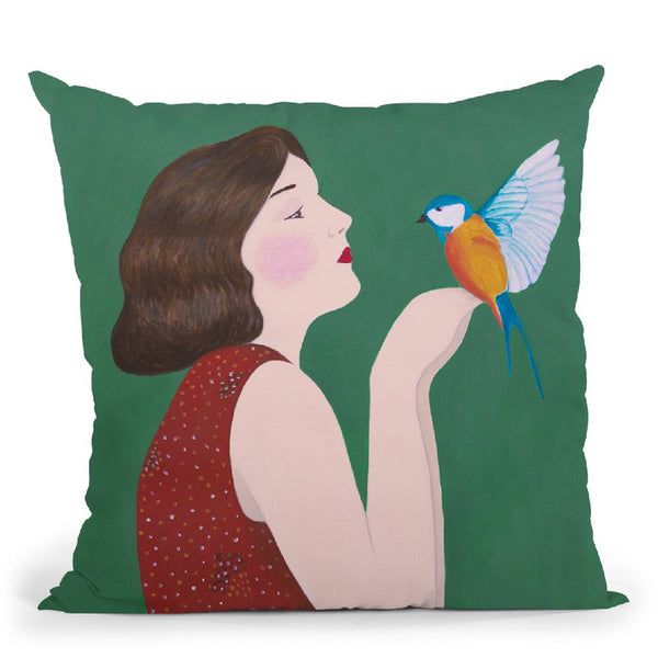 Woman And Bird Throw Pillow By Sally B