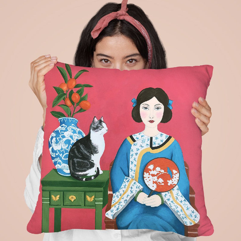 Chinese Woman And Cat Throw Pillow By Sally B