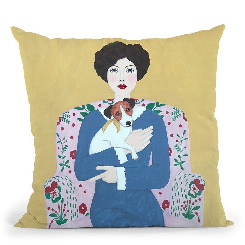 Woman And Jack Russelll On Armchair Throw Pillow By Sally B