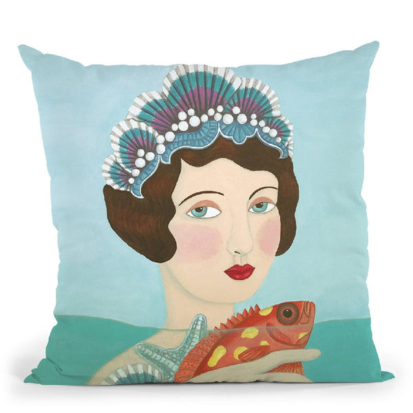 Woman And Seashells Throw Pillow By Sally B