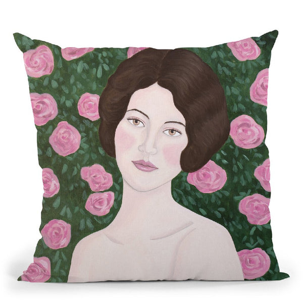 Woman In Rose Garden Throw Pillow By Sally B