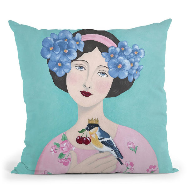 Woman With Bird And Cherry Throw Pillow By Sally B