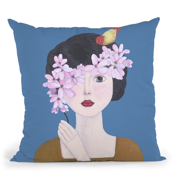 Woman With Bird And Flowers Throw Pillow By Sally B