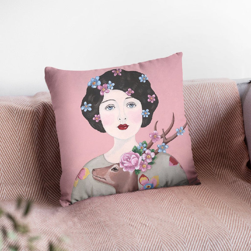 Woman With Deer Throw Pillow By Sally B