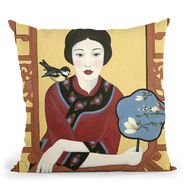 Chinese Woman And Fan Throw Pillow By Sally B