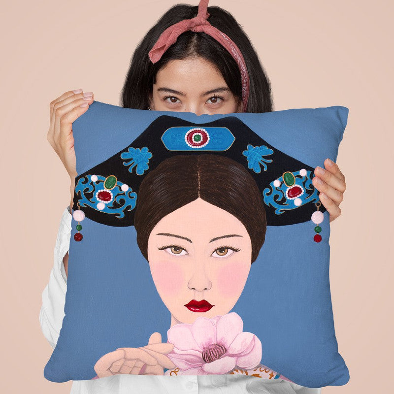 Chinese Woman Holding Flower Throw Pillow By Sally B