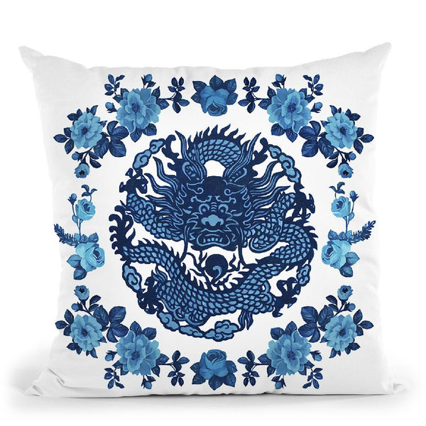 Chinoiserie Dragon Throw Pillow By Sally B