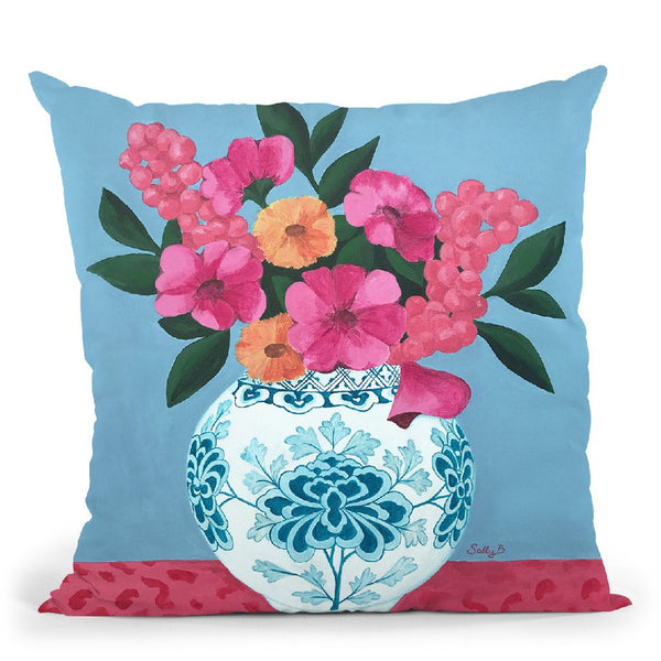Chinoiserie Vase And Flowers Throw Pillow By Sally B