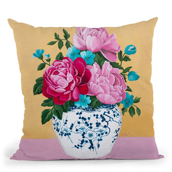 Chinoiserie Vase And Peony Throw Pillow By Sally B