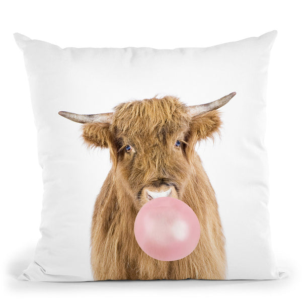 Bubble Gum Cow Throw Pillow By Sisi And Seb
