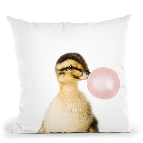 Bubble Gum Duck Throw Pillow By Sisi And Seb