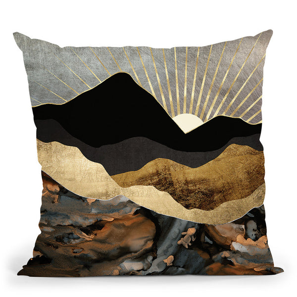 Copper And Gold Mountains Throw Pillow By Spacefrog Designs