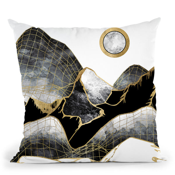 Minimal Black And Gold Mountains Throw Pillow By Spacefrog Designs