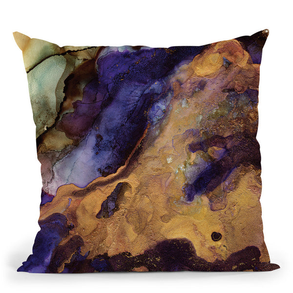 Purple And Gold Abstract Throw Pillow By Spacefrog Designs