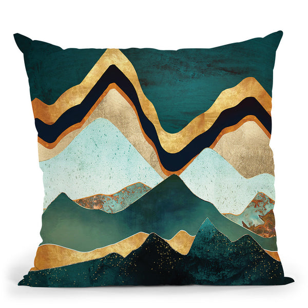 Velvet Copper Mountains Throw Pillow By Spacefrog Designs