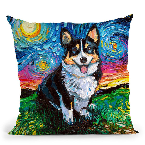 Corgi Tri-Color Throw Pillow by Aja Trier