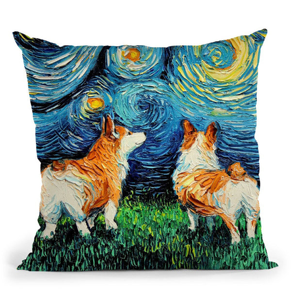 Corgis Throw Pillow by Aja Trier