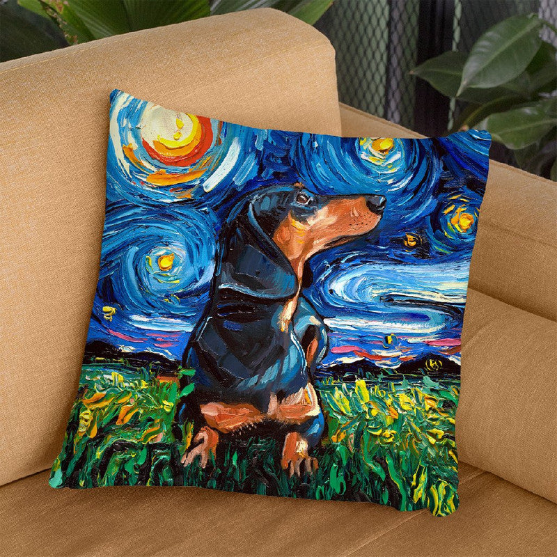 Dachshund Black And Tanorthair Throw Pillow by Aja Trier