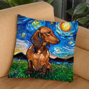 Dachshund Brownorthair Throw Pillow by Aja Trier