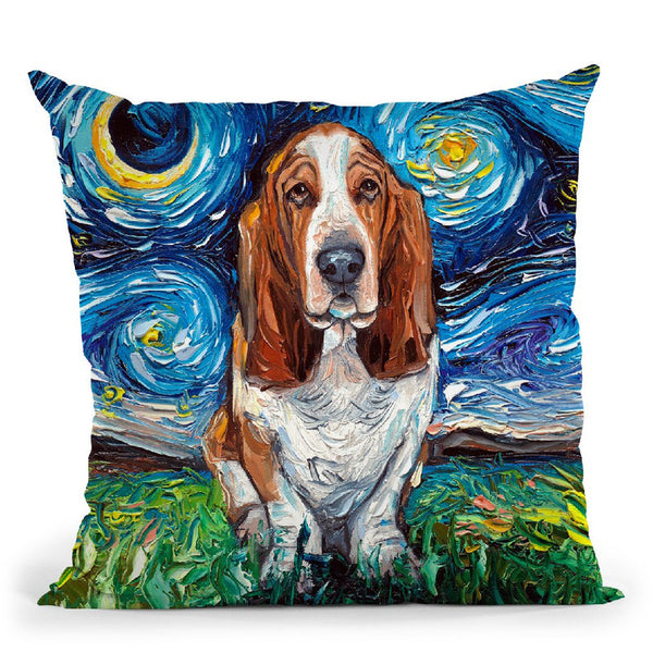 Basset Hound Throw Pillow by Aja Trier