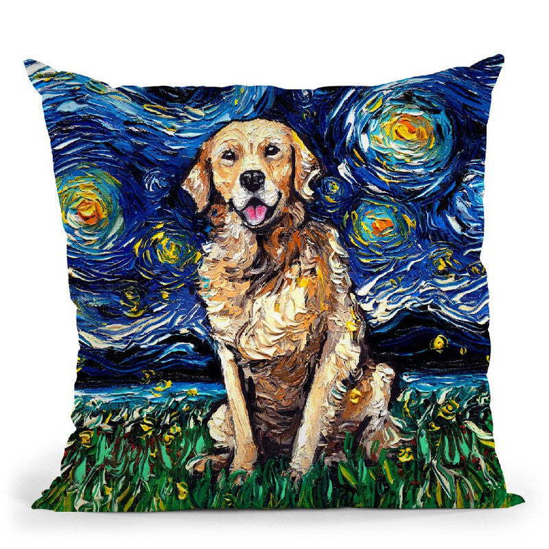Golden Retriever Throw Pillow by Aja Trier