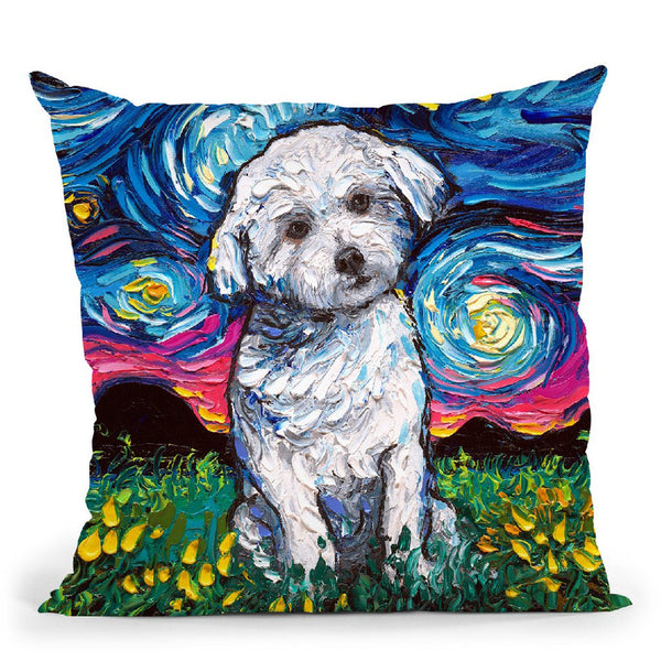 Maltese Throw Pillow by Aja Trier