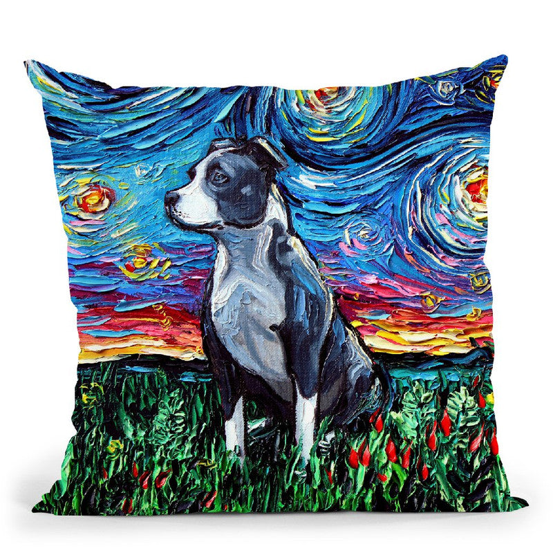Pit Bull Throw Pillow by Aja Trier