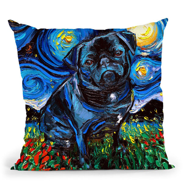 Pug Black Winnie Throw Pillow by Aja Trier