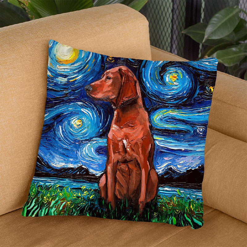Redbone Coonhound Throw Pillow by Aja Trier
