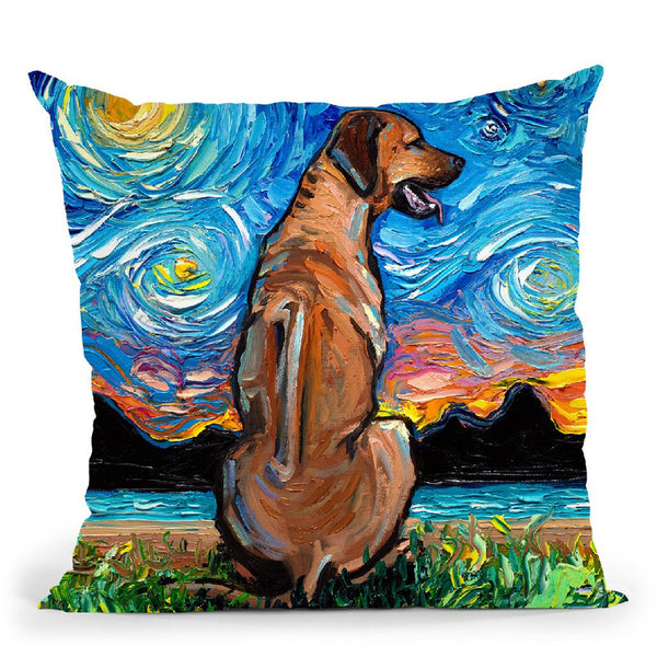 Rhodesian Ridgeback Throw Pillow by Aja Trier