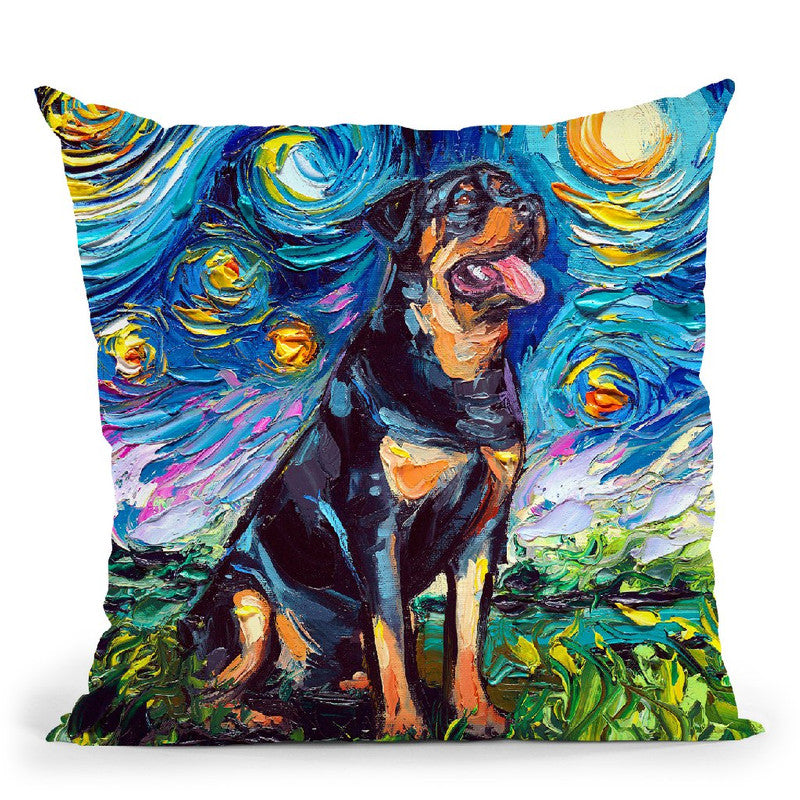 Rottweiller Ii Throw Pillow by Aja Trier