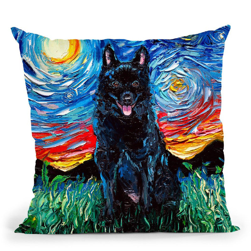 Schipperke Throw Pillow by Aja Trier