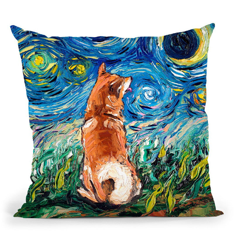 Shibainu Throw Pillow by Aja Trier