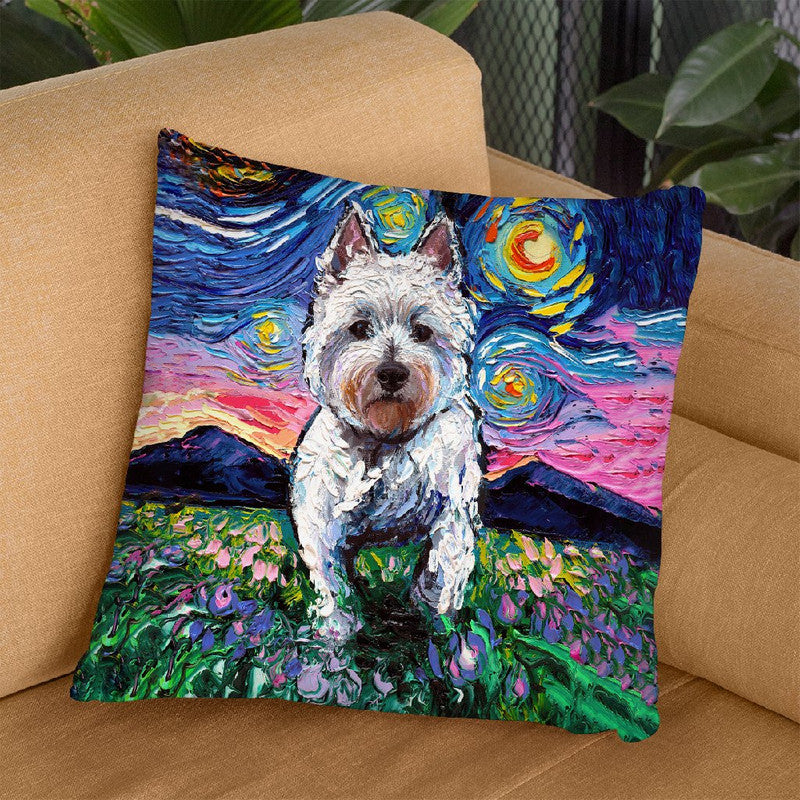Westie Flowers Throw Pillow by Aja Trier