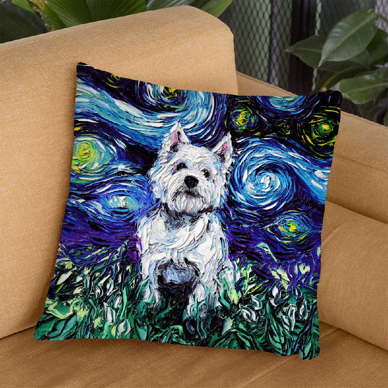 Westie Throw Pillow by Aja Trier