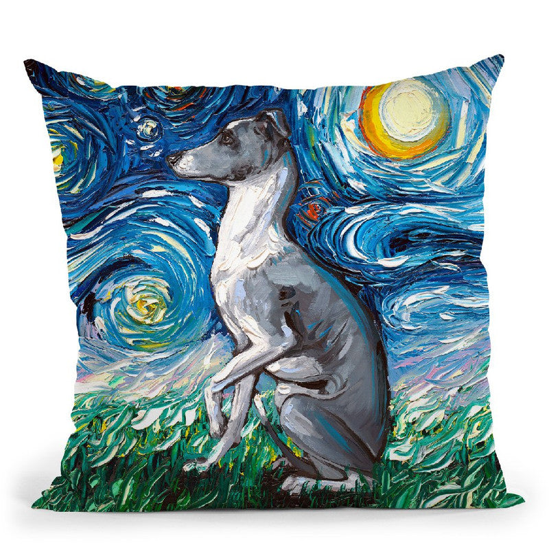 Whippet Throw Pillow by Aja Trier