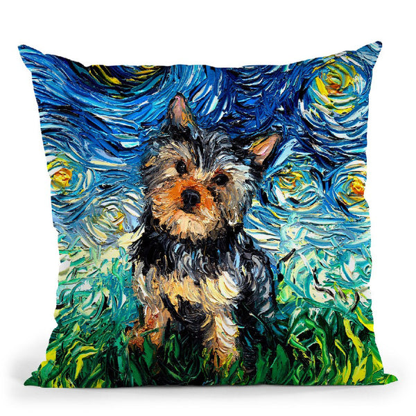 Yorkie Huge Throw Pillow by Aja Trier