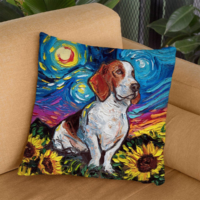 Basset Hound Sunflowers Throw Pillow by Aja Trier