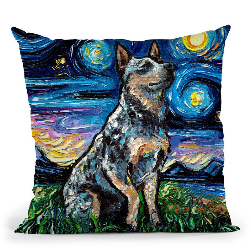 Blue Heeler Throw Pillow by Aja Trier