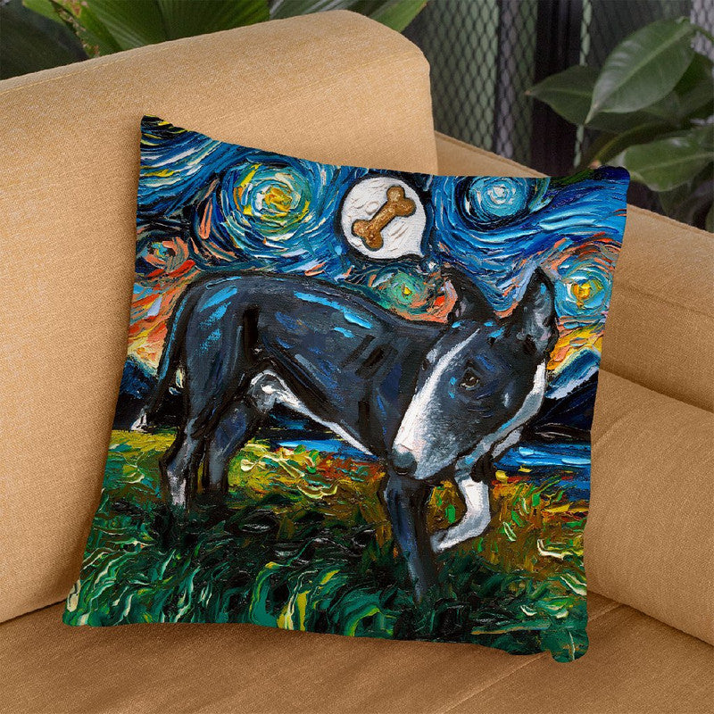 Bull Terrier Black And White Throw Pillow by Aja Trier