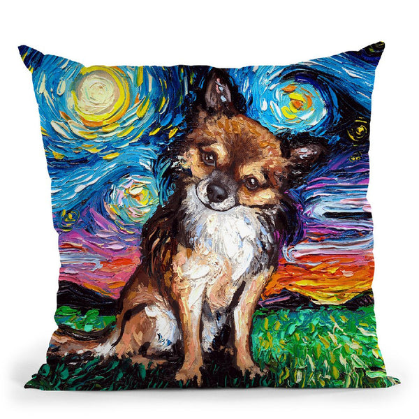 Chihuahua Long Haired Throw Pillow by Aja Trier
