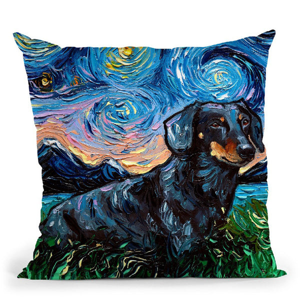 Dachshund Black And Tan Throw Pillow by Aja Trier