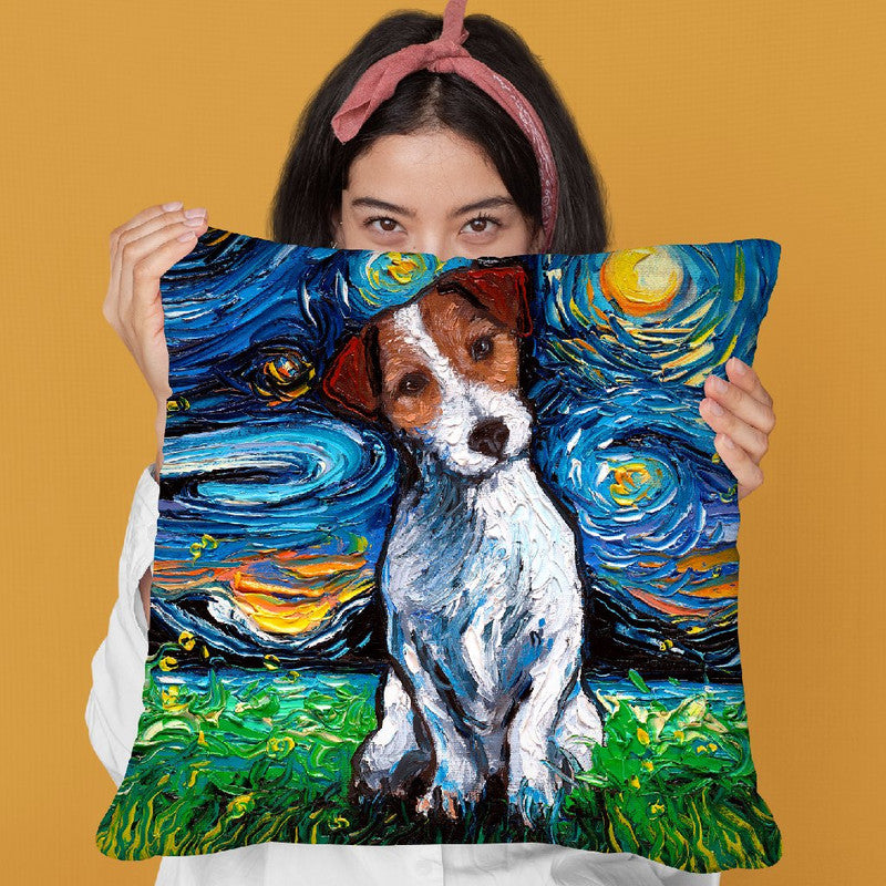 Jack Russel Terrier Throw Pillow by Aja Trier