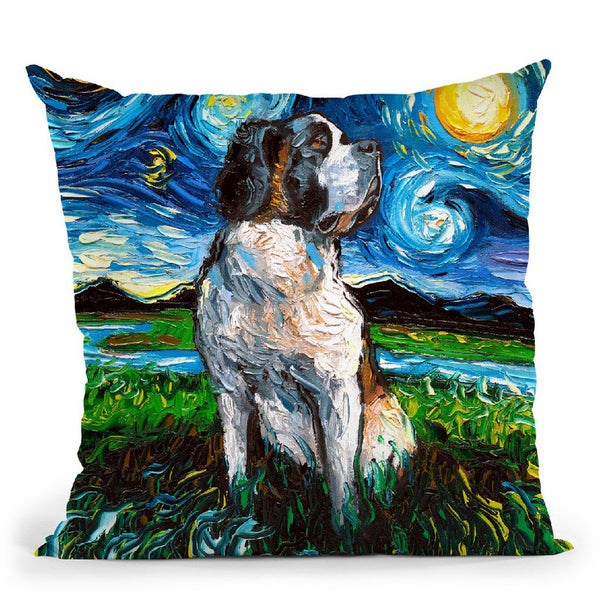Saint Bernard Throw Pillow by Aja Trier