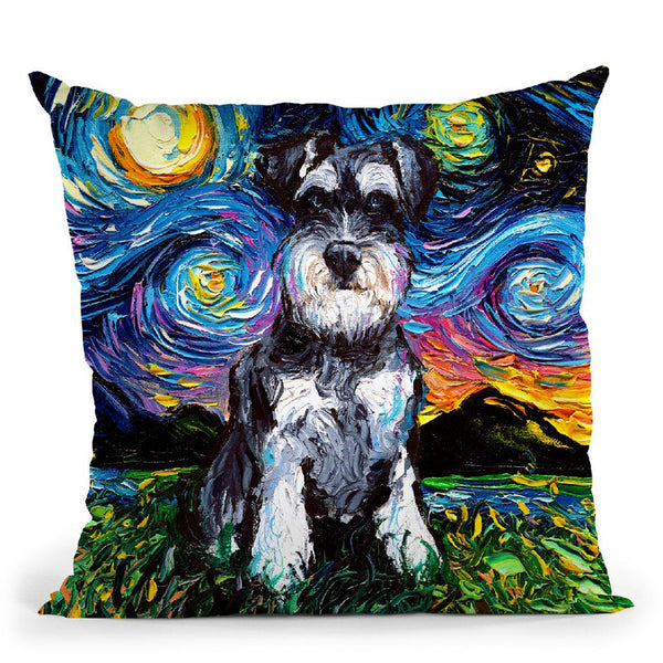 Schnauzer Throw Pillow by Aja Trier